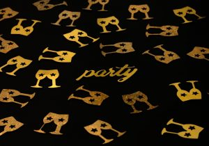 party, champagne glasses, glitter